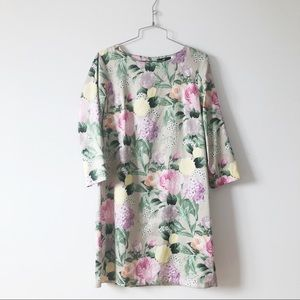 H&M women's printed floral shift dress 3/4 sleeves